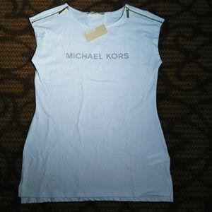 Michael Kors Gold Logo Zipper Accent Shirt